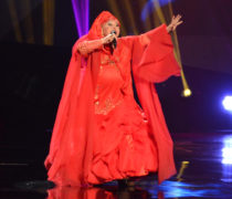Esma Redžepova. Macedonian Romani singer born in 1943. On stage at the 2013 Eurovision Song Contest.
