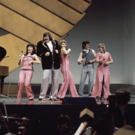 Fredi & Ystävät at a rehearsal for the Eurovision Song Contest 1976.